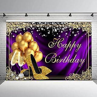 Avezano Gold und Lila Geburtstag Hintergrund Gold Heels Champagner Ballons Silber Diamanten Geburtstag Hintergrund 2,1 x 1,5 m Erwachsene Geburtstag Party Banner Hintergründe für Frauen