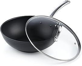 Cooks Standard Flat Bottom With Lid 11-Inch Hard Anodized Nonstick Wok Stir Fry Pan, Black
