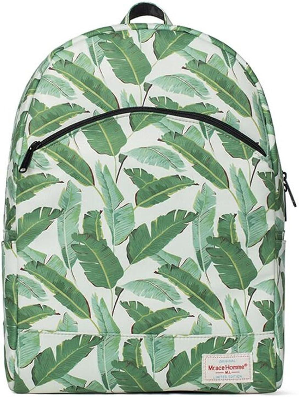 QIDI Backpack Waterproof Leaves Printing Leisure Travel Polyester 301441cm
