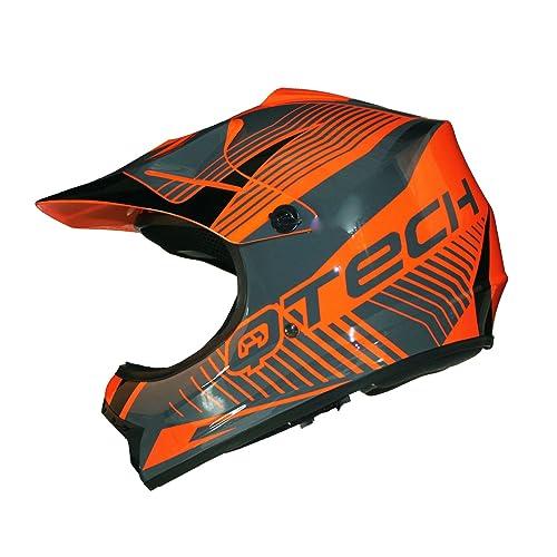7983e5484d485f Casque de Moto pour Enfant Motocross Cross Off-Road Noir Mat ATV Quad -  Orange