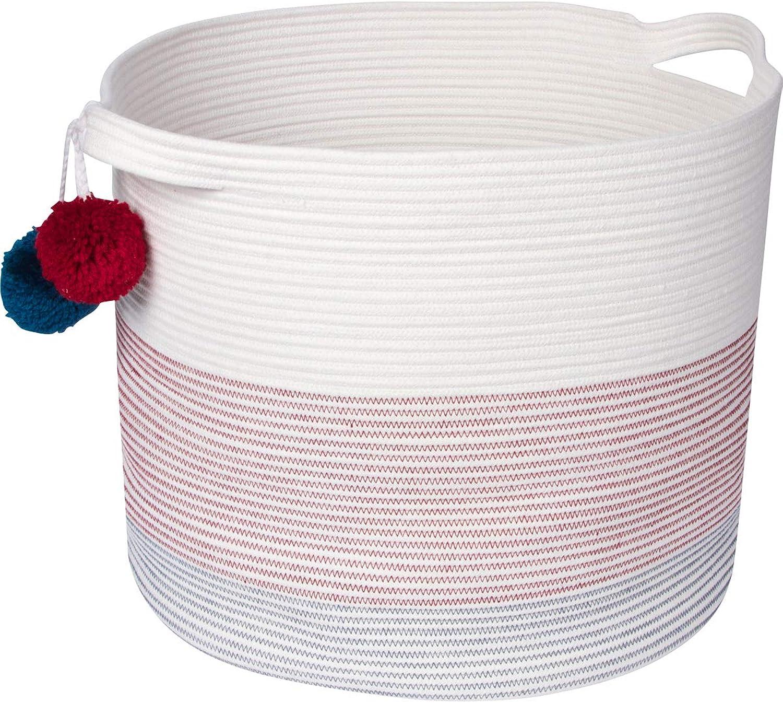 Sweetzer & orange Extra Large Woven Cotton Rope Storage Basket with Pom-Poms - 15 x20  - Blanket Storage Baskets, Laundry and Toy Storage, Nursery Hamper - Off White Navy Rhubarb XXL for Living Room