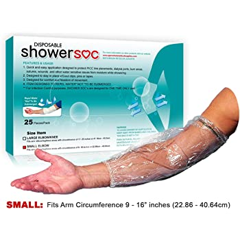 """Picc Line Shower Sleeve - 25 Pack - Small - Elbow,Knee - Protector Sleeve Guard, Disposable Barrier - Fits Bicep-Knee-Arm 9"""" - 16"""" - for Chemotherapy, Chemo Infusion and Tattoos"""