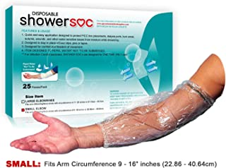 Picc line Shower Cover - 25 Pack - Small - Elbow,Knee - Wound Protection, Sleeve, Guard, Disposable, Barrier - Fits Bicep-Knee-Arm 9