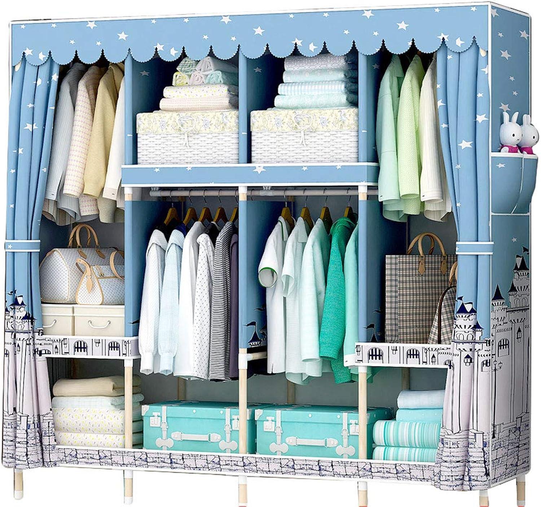 Simple wardrobe Wardrobe Simple Cabinet Solid Wood Storage Assembly 165  45  170cm Wardrobe (color   C)