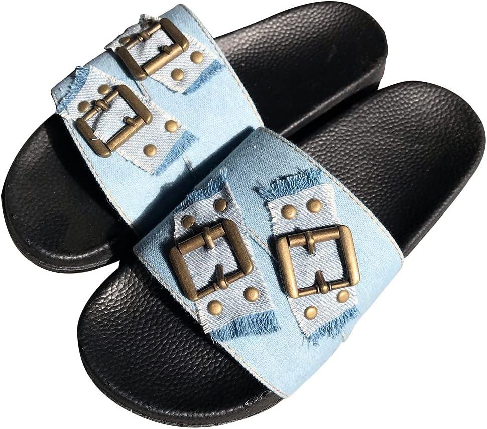 Women's Flat Slides Summer Open Toe Slippers Sandals Toe Sliders Flip Flops Comfy Casual Shoes (Color : Light Blue, Size : 41EU)
