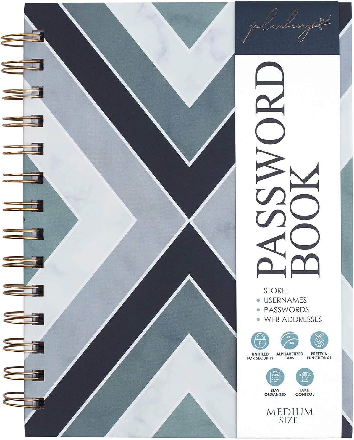 PLANBERRY Password Book with Alphabetized Oklahoma City Mall Animer and price revision A-Z tabs –