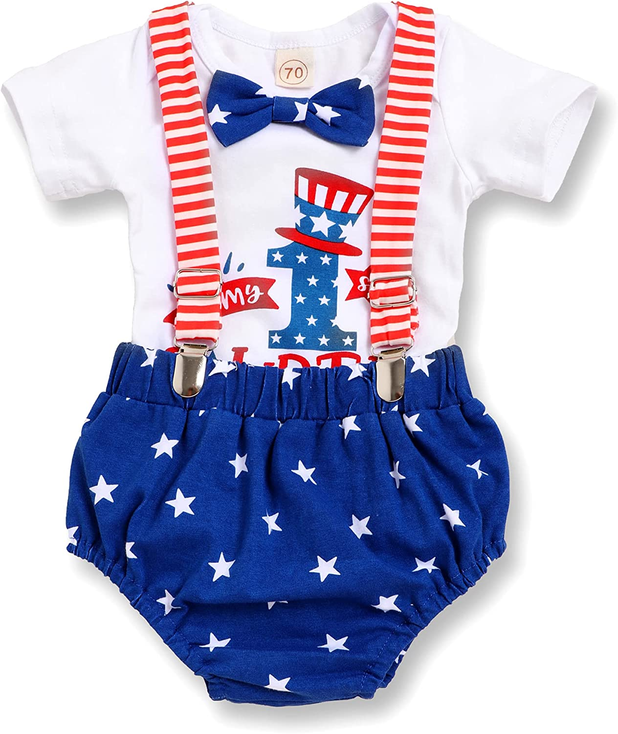 Recabee My 1st 4th of July Baby Boy Outfits Gentleman Romper+Suspender Shorts Overalls Baby Boy 4th of July Clothes