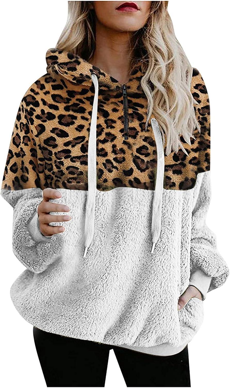 ODJOY-FAN Women Sherpa Pullover Fuzzy Fleece Hoodies Winter Oversized Warm Wool Furry Jacket Sweatshirt Plus Size Outwear