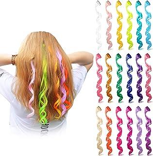 24 قطعه 24 رنگ چند رنگ کلیپ در در مو ضخیم مو قطعات رنگی نکات برجسته لوازم جانبی مو لوازم جانبی 20 اینچ مو بلند برای زنان دختران (24 رنگ، موج فرفری)
