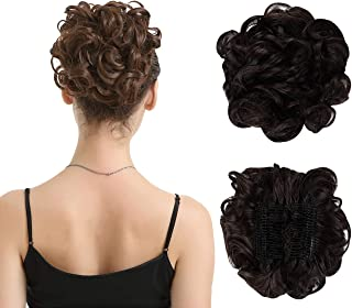 BARSDAR Messy Hair Bun Extension Combs in Easy Stretch Scrunchie Chignon Tray Ponytail Hairpieces for Women/Ladies/Girls (4# Dark Brown)