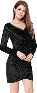 Women's Lace V Neck Ruched Party Cocktail Velvet Bodycon Stretch Dress
