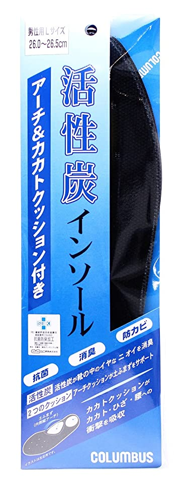 外向き皮思いつくコロンブス 活性炭インソール アーチ&カカトクッション付き Lサイズ 1足分(2枚入)