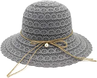 2019 Womens Hats Caps Womens Beach Bow Sun Hat Women Design Beach Straw Hat for Women Wide-Brimmed Hat 2019 Summer Fashion Foldable Cotton Elegant Mesh Sunscreen (Color : Gray, Size : 56-58CM)