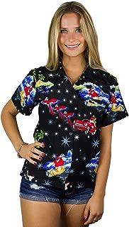 King Kameha Hawaiian Blouse Shirt for Women Funky Casual Button Down Very Loud Shortsleeve Santa Christmas X-Mas Mix