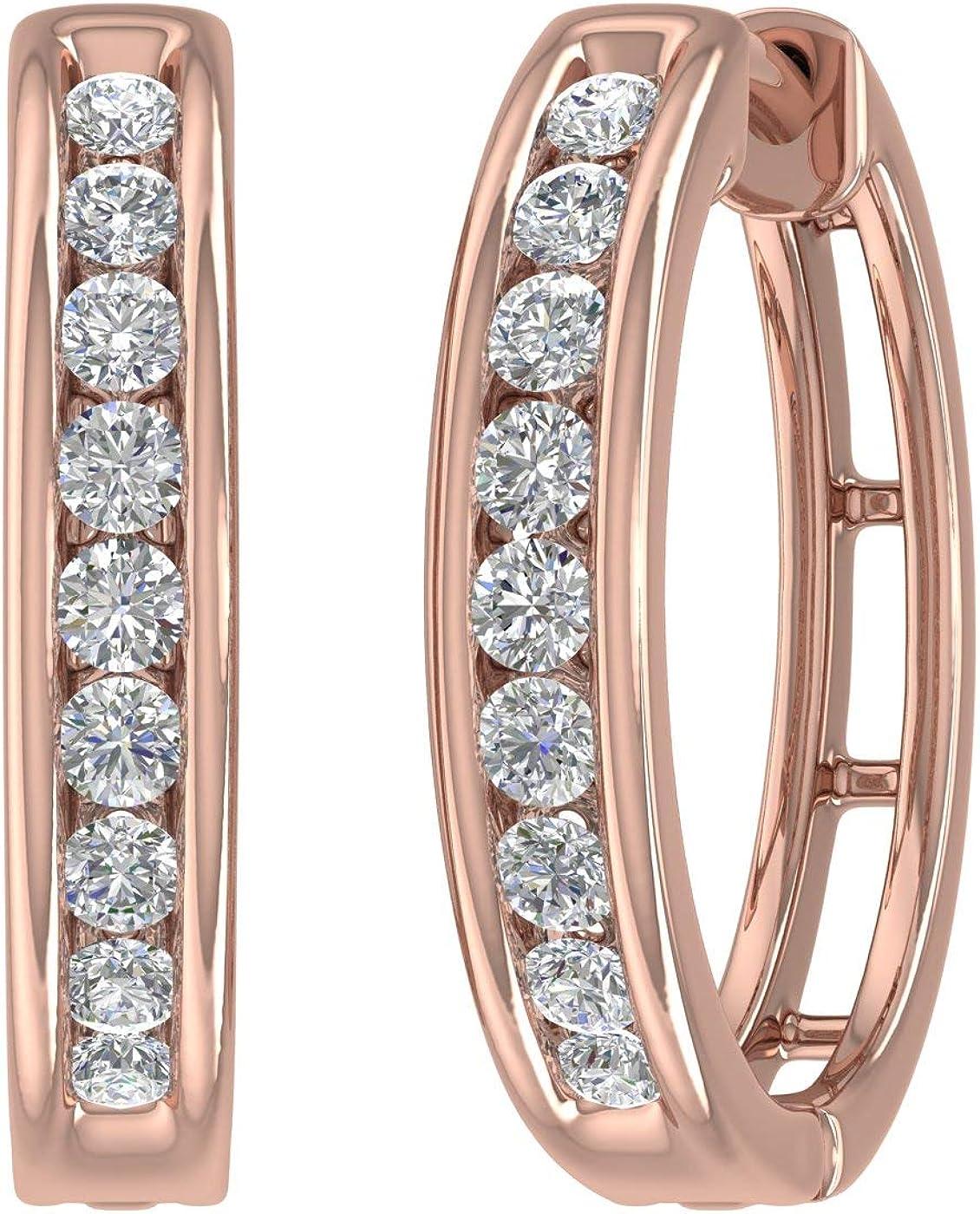 1 2 Carat Diamond Hoop Gold Oakland Mall 14K Max 68% OFF Earrings in