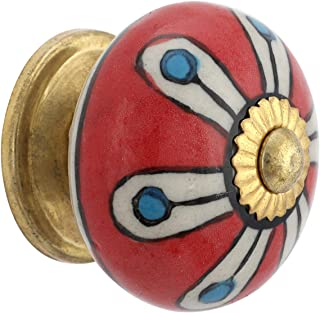 ROCOCO Knobs for Drawers - Decorative Barn Red Floral Cabinet Pulls Brass Steel Door Handle Blue Pottery Flower Handmade H...