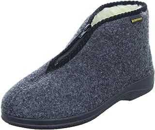 Zapatillas de estar por casa Intermax, para hombre, con cremallera, forro de lana y fieltro color antracita