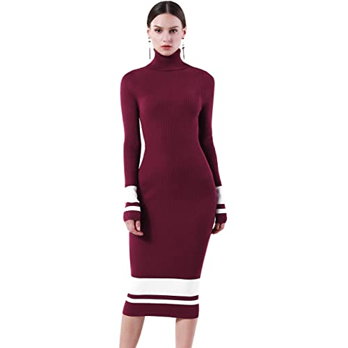 e9c3fcc522 PrettyGuide Women Slim Fit Ribbed Turtleneck Long Sleeve Maxi Knit Sweater  Dress