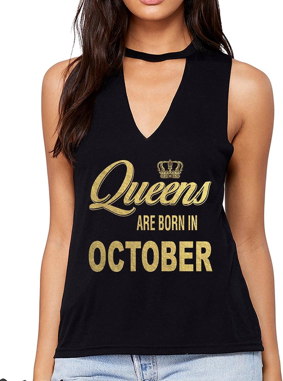 Emdem Apparel Queens are Born in October Womens V Neck Choker Tank Top