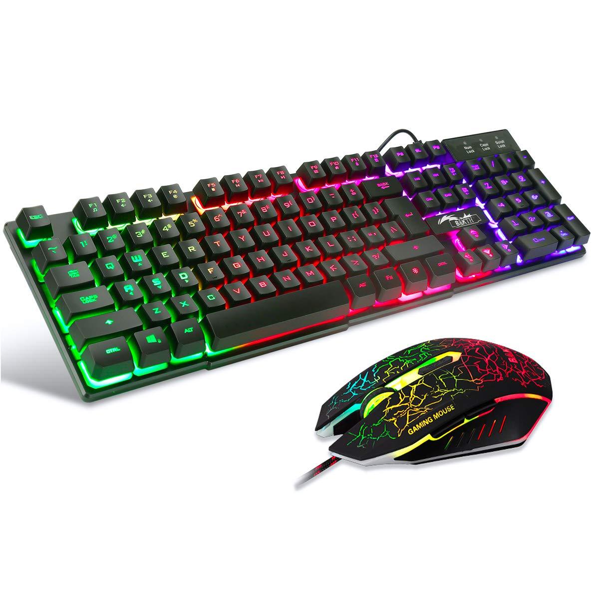 BAKTH Teclado y Ratón para Juegos, Color del Arco Iris USB LED Retroiluminada del Gaming Teclado y Ratón para Juego o Trabajo, Alto Desempeño, Mecánico Similar Teclado: Amazon.es: Informática