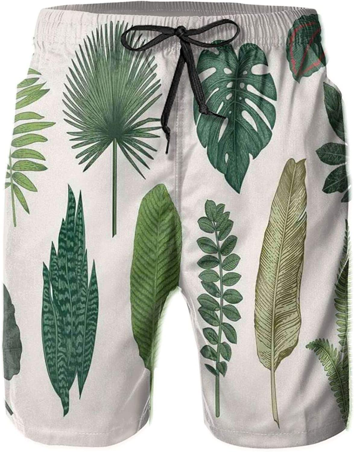 Vintage Botanical Composition of Different Kinds of Tree Leaves from Exotic Nature Mens Swim Shorts Casual Workout Short Pants Drawstring Beach Shorts,XXL