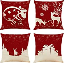 """Sunnyglade 4PCS 18""""x18"""" Christmas Throw Pillow Covers Fall Decorative Couch Pillow Cases Cotton Linen Autumn Pillow Square..."""