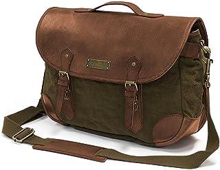 DRAKENSBERG Satchel Bag - Umhängetasche und Handtasche für Damen und Herren im Retro-Vintage-Design, handgemacht in Premium-Qualität, 10L, Canvas und Leder
