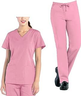 Tru Uniform Tru Scrubs Ladies V-Neck Top & Full Elastic Cargo Pant Scrub Set