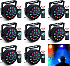 DJ Lights, KOOT 18 X 1W RGB Stage Uplighting Package Sound Activated Strobe Par Lights with Remote Control Compatible with DMX, 8 Mode 7 Channel for Wedding Church Bar Birthday Event (8 Packs)