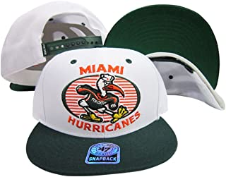 Miami Hurricanes White/Green Two Tone Plastic Snapback Adjustable Snap Back Hat/Cap