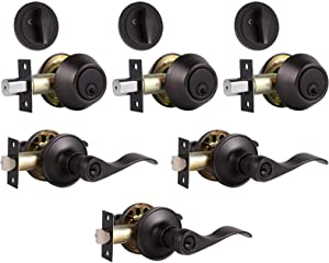 3 Pack Entry Door Lever and Deadbolt Lock Set, Keyed Alike Handleset with Single Cylinder Deadbolt,Reversible for Right or Left Handed, Wave Style Door Lock Set for Office/Front Door,Oil Rubbed Bronze