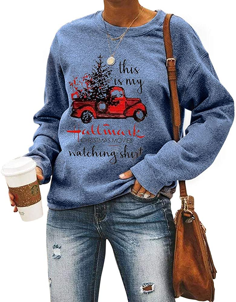 Christmas Womens Hallmark Letter Print Red Truck Tree Cute O-Neck Sweatshirt Casual Loose Fitting Tops Long Sleeve Pullover