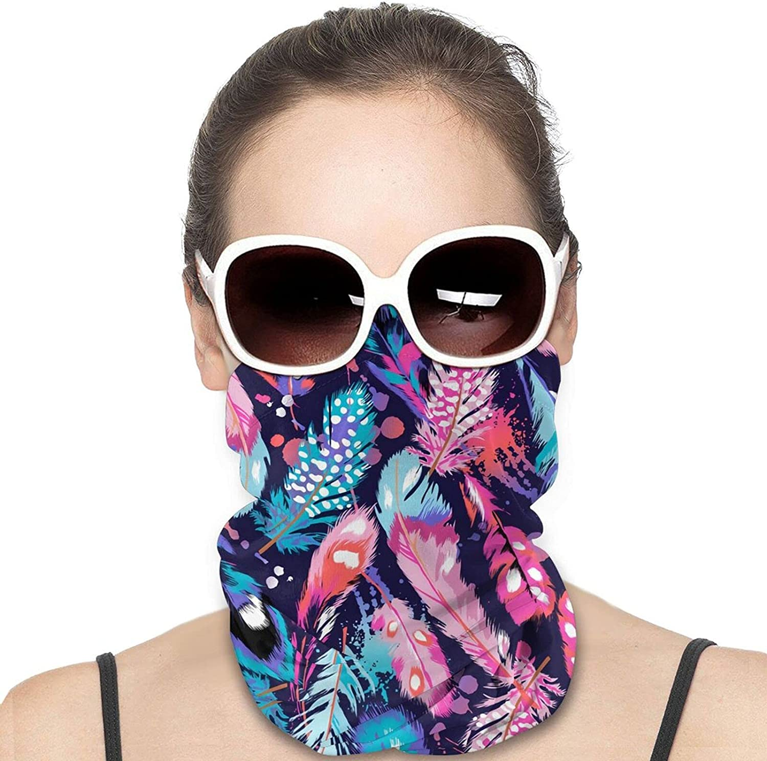 Beautiful Feathers Colorful Unisex Face Mask Sunproof Summer Cloth Masks Variety Head Scarf Unisex Bandanas And Balaclava Dustproof Headband Neck Gaiter For Cycling Camping Running For Men Women