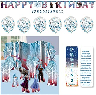 Frozen 2 Birthday Princess Party Decorating Kit: Table Decorating Kit (Centerpiece), Add-An-Age Banner, 6 Confetti Balloons and an Exclusive ElevenPlus 2 Bookmark