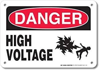 Danger High Voltage Rectangular Electrical Sign by My Sign Center - Rust Free, UV Coated and Weatherproof .040 Aluminum - Rounded Corners and Pre-Drilled Holes - 7