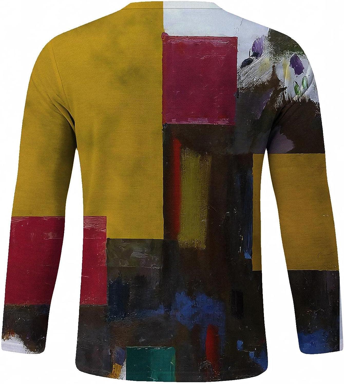 Huangse T-Shirt for Men Casual Contrast Color Block Shirt Crewneck Long Sleeve Streetwear Hip-hop Printed Top Blouse