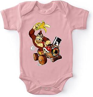 OKIWOKI Mario Kart - Donkey Kong Lustiges Rosa Kurzärmeliger Baby-Bodysuit Mädchen - Donkey Kong Mario Kart - Donkey Kong Parodie signiert Hochwertiges Baby-Bodysuit - Ref : 666