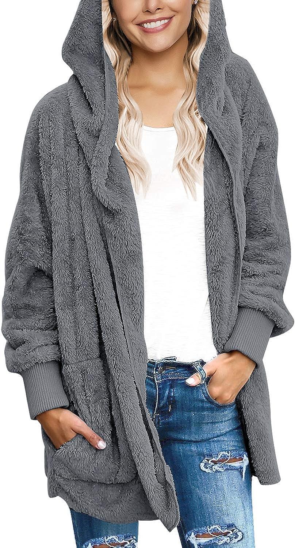 LookbookStore Womens Oversized Open Front Hooded Draped Pockets Cardigan Coat