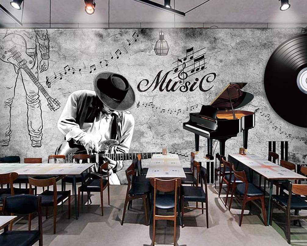 Amazon Com Murwall Music Note Wallpaper Piano Wall Mural Dark Music Wall Print Guitar Wall Decor Cafe Design Young Room Living Room Handmade Products