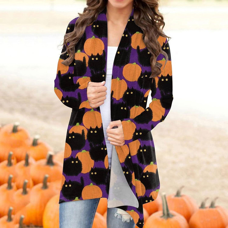 BABAKE Long Sleeve Shirts for Women Dressy,Halloween Long Sleeves Cardigan, Women's Funny Cat Pumpkin Print Open Front Knit Sweaters Fashion Coat Outwear Blouse Purple