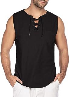 COOFANDY Mens Fashion T Shirt Cotton Tee Hippie Shirts Sleeveless Yoga Top