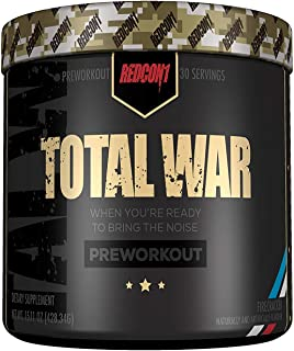 Redcon1 Total War - Pre Workout - 30 Servings - Firecracker Flavor, Boost Energy, Increase Endurance and Focus, Beta-Alani...