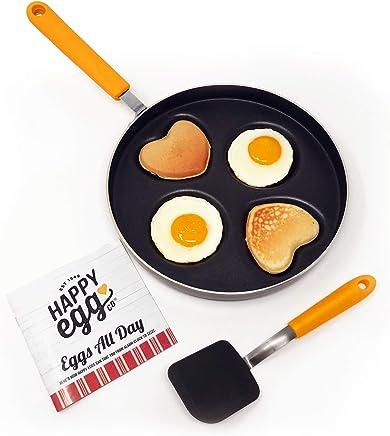 Heart & Circle 4 Cup Nonstick Pan – Happy Egg Pan by Choosy Chef, Spatula