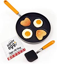 Happy Egg Pan by Choosy Chef - Nonstick 4-Cup Frying Pan, Spatula & Happy Egg Recipe Book Included
