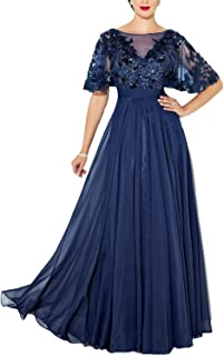 Womens Elegant Lace Mother of The Bride Dress Beaded...