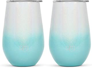 Simple Modern 12oz Spirit Wine Glasses 2 Pack Bundle - Stainless Steel Tumbler with Lids - Vacuum Insulated 18/8 Stainless Steel - Ombre: Diamond Turquoise