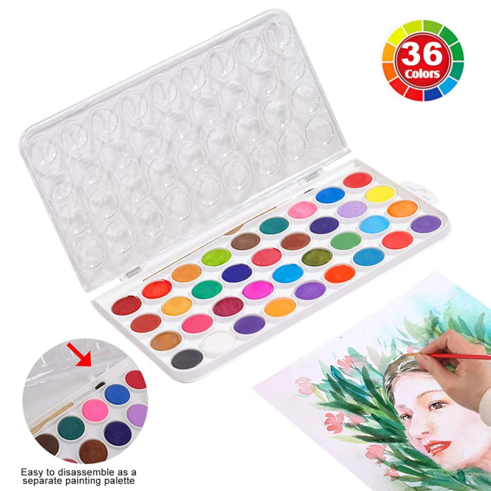 imoli 36 Cake Colors Watercolor Paint Set Professional Kids Travel Water Color Pan Portable Adults Watercolor Painting Kit for Artist Beginners Art Children Starter Students with Brush