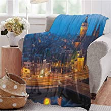 City Rugged or Durable Camping Blanket Night View of Amsterdam Famous Landmark European Urban Travel Architecture Warm and Washable W70 x L70 Inch Blue Marigold Tan