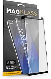 [Case Compatible] Galaxy S9 Plus Tempered Glass Screen Protector, MagGlass (XT90 Scratchproof/Shatterproof) Reinforced Screen Guard w/Pixel Grid Technology (Includes Precision applicator)