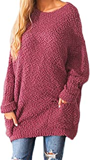 PRETTYGARDEN Women's Casual Fuzzy Batwing Long Sleeve Crew Neck Chunky Knit Oversized Popcorn Sweater Pullover with Pockets